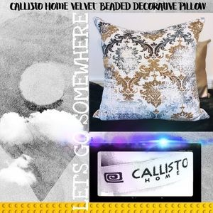 🌟 Callisto Home 🌟Velvet Beaded Decorative Pillow